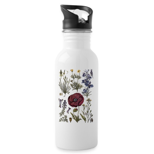 Wild flowers - Water bottle with straw
