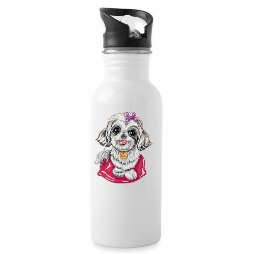 Perrita raza Shi Tzu SUSI - Botella cantimplora con pajita integrada