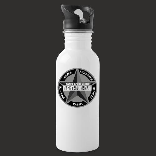 Logo Grau - Trinkflasche mit integriertem Trinkhalm