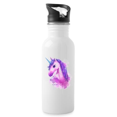 Unicorn by Clarielle LOGO NEU - Trinkflasche mit integriertem Trinkhalm