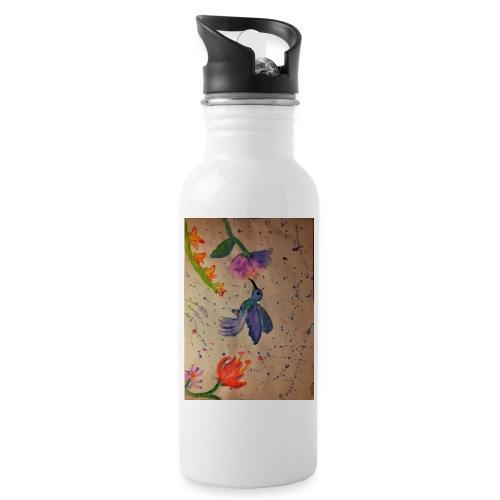 Kolibrie & bloemen - Drinkfles met geïntegreerd rietje