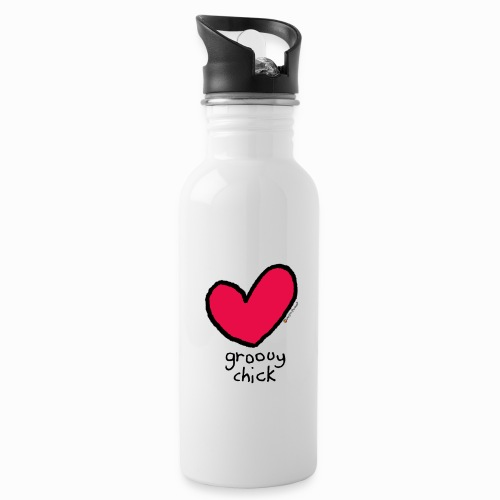 groovy chick heart - Water bottle with straw