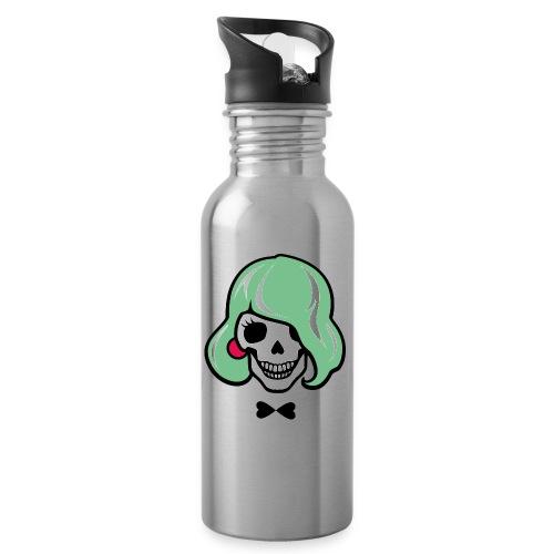Sexy Totenkopf - Sharon Bone - Trinkflasche mit integriertem Trinkhalm