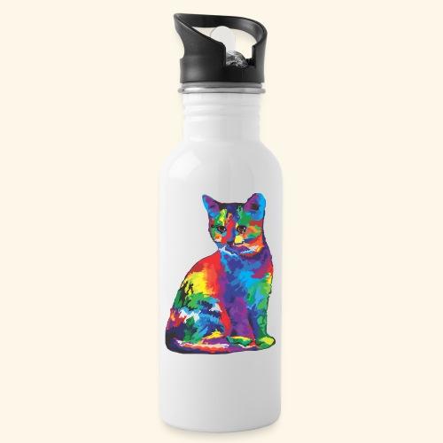 Gato fantástico - Botella cantimplora con pajita integrada