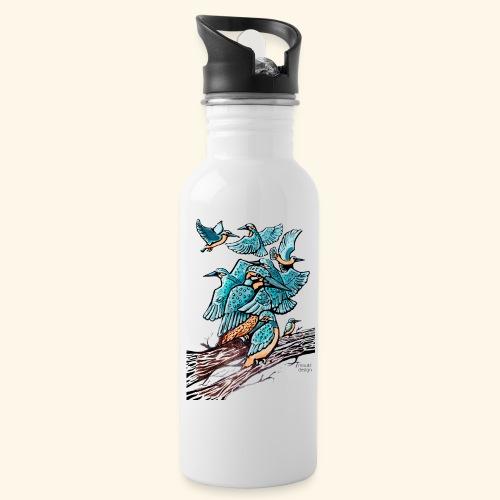 Eisvogel Rudel - Trinkflasche mit integriertem Trinkhalm