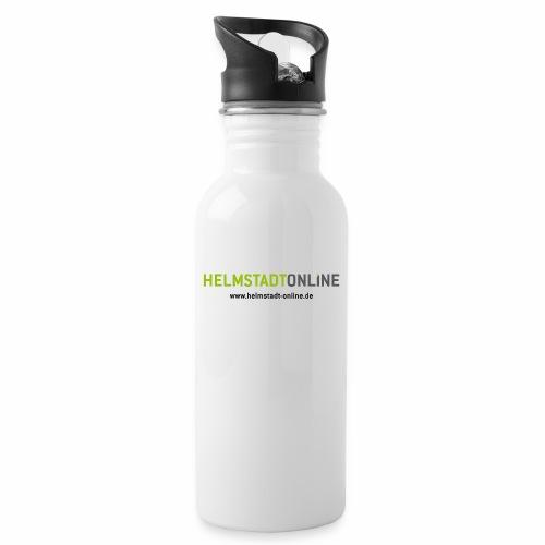 Logo mit www - Trinkflasche mit integriertem Trinkhalm