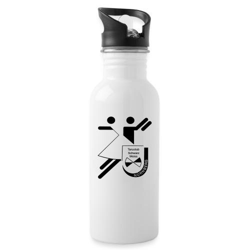 Schwarz Weiss gross - Trinkflasche mit integriertem Trinkhalm