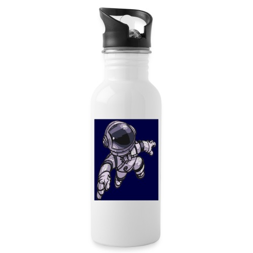 Leaping Astronaut on Blue - Water bottle with straw