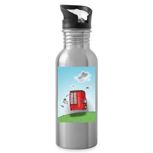 Feuerwehrwagen - Trinkflasche mit integriertem Trinkhalm