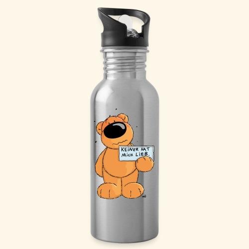 chris bears Keiner hat mich lieb - Trinkflasche mit integriertem Trinkhalm