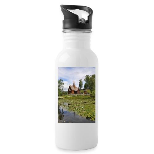 Stabkirche 2000 jpg - Trinkflasche mit integriertem Trinkhalm