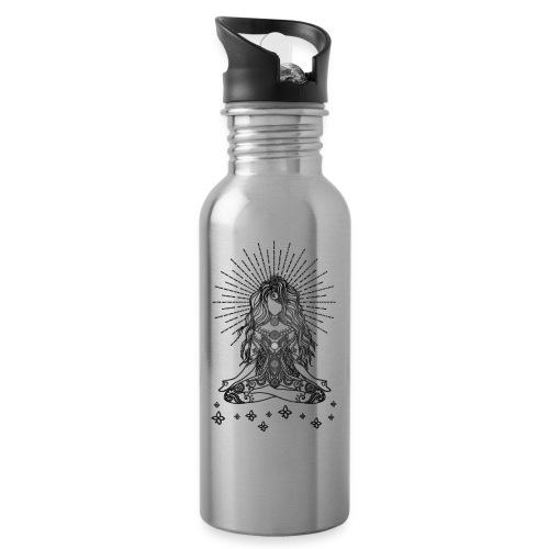 Boho Yoga Mädel Happy Life - Trinkflasche mit integriertem Trinkhalm