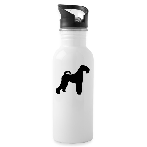 BLACK Airedale Terrier - Water bottle with straw