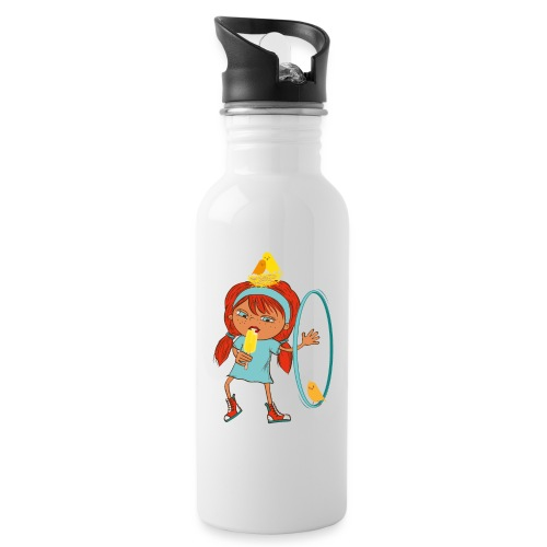 Happy Girl mit Eis, Vögeln und HulaHoop - Trinkflasche mit integriertem Trinkhalm