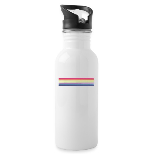 Colored lines - Water bottle with straw
