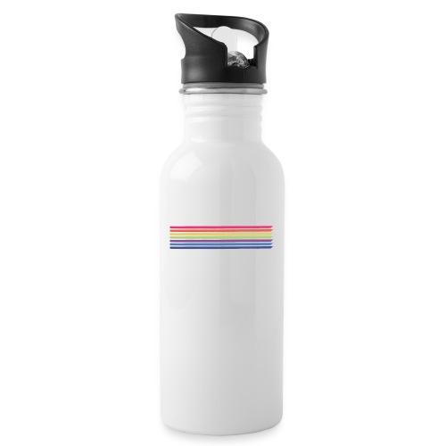 Farvede linjer - Drikkeflaske med integreret sugerør