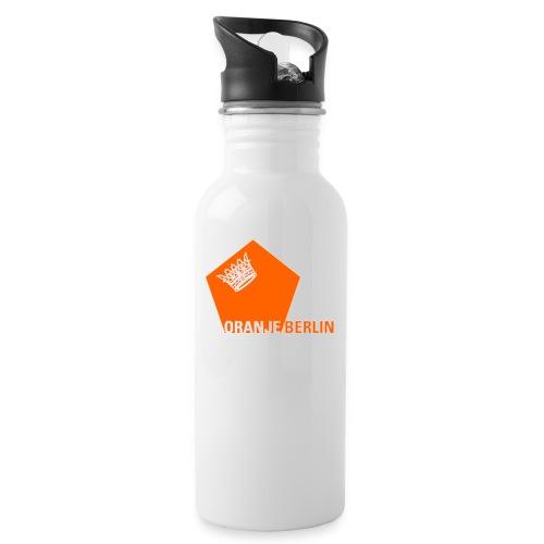 logooranje - Trinkflasche mit integriertem Trinkhalm