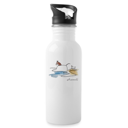 Blåvand 3 - logo - Drikkeflaske med integreret sugerør
