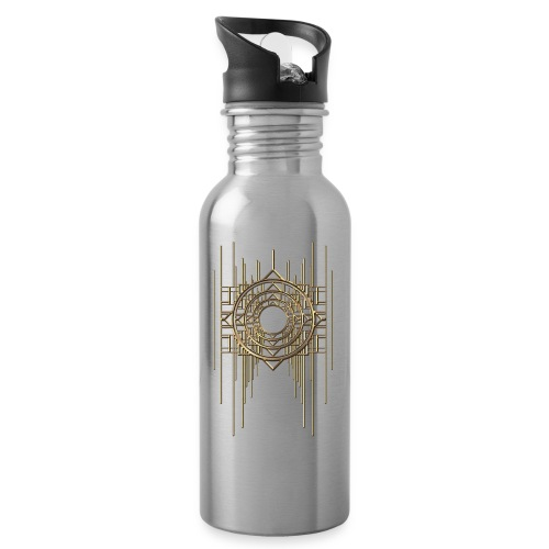 Abstract & Geometric - Gold Metal - Water bottle with straw
