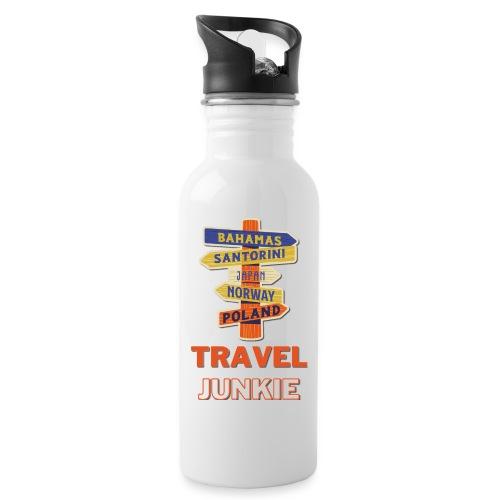 traveljunkie - i like to travel - Trinkflasche mit integriertem Trinkhalm