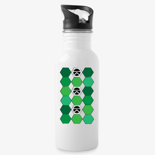 |K·CLOTHES| HEXAGON ESSENCE GREENS & WHITE - Botella cantimplora con pajita integrada