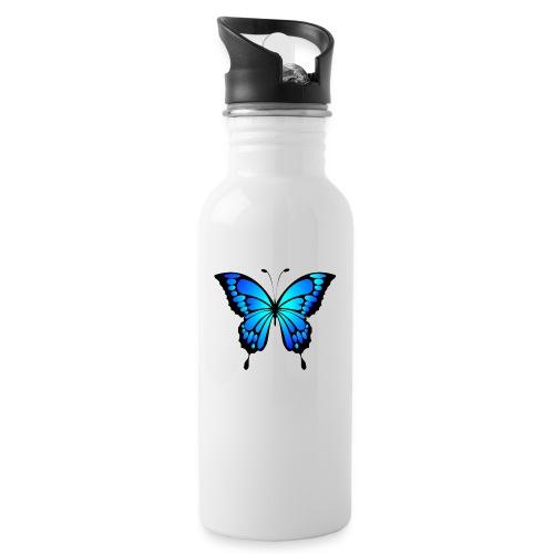 Mariposa - Botella cantimplora con pajita integrada