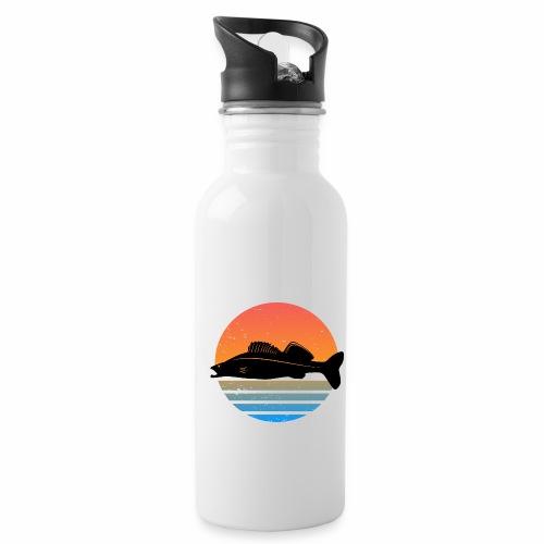 Retro Zander Angel Angler Raubfisch Geschenk Fisch - Trinkflasche mit integriertem Trinkhalm