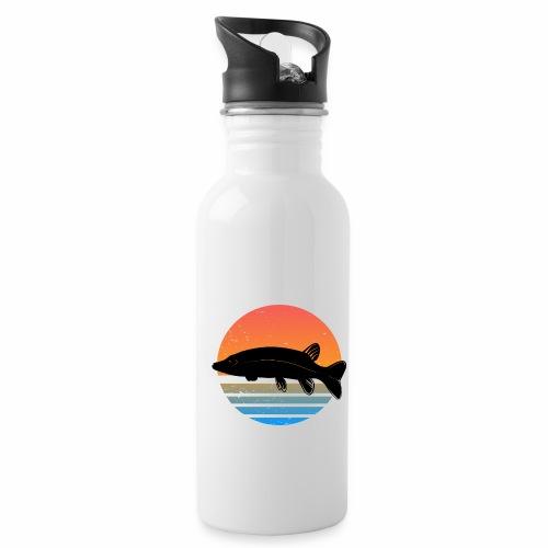 Retro Hecht Angeln Fisch Wurm Angler Raubfisch - Trinkflasche mit integriertem Trinkhalm