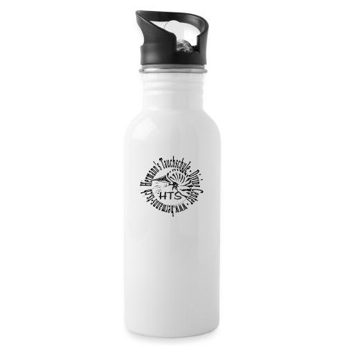 HTS Logo weiss - Trinkflasche mit integriertem Trinkhalm