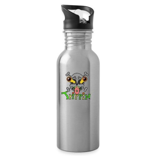 Totenkopf Trippin Design - Trinkflasche mit integriertem Trinkhalm