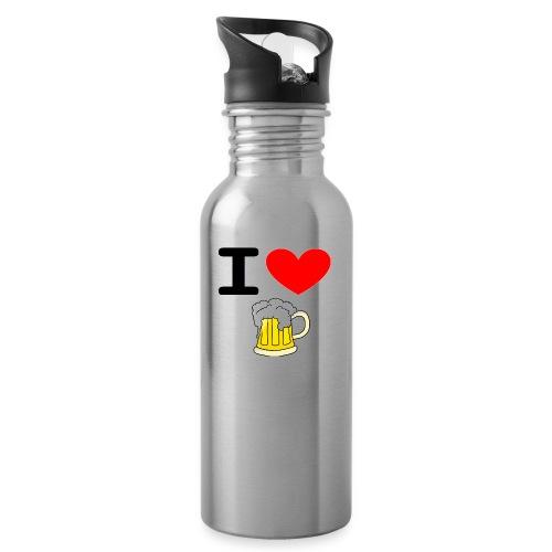 I love bier - Trinkflasche mit integriertem Trinkhalm