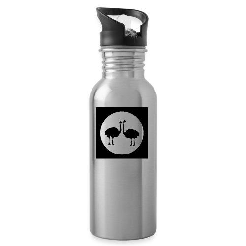 Strauß - Trinkflasche mit integriertem Trinkhalm