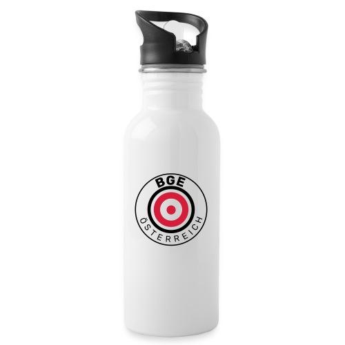 BGE in Österreich mit Fahne - Trinkflasche mit integriertem Trinkhalm