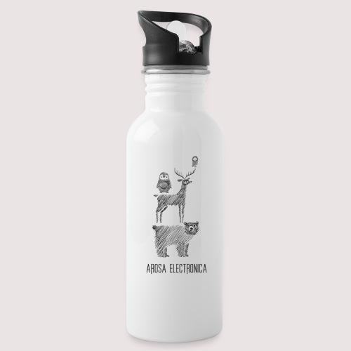 Musikanten Schwarz - Trinkflasche mit integriertem Trinkhalm