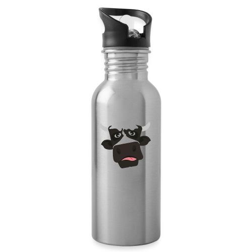 Funny Cow - Trinkflasche mit integriertem Trinkhalm