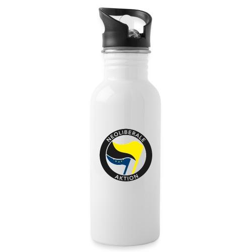 Neoliberale Aktion! - Trinkflasche mit integriertem Trinkhalm