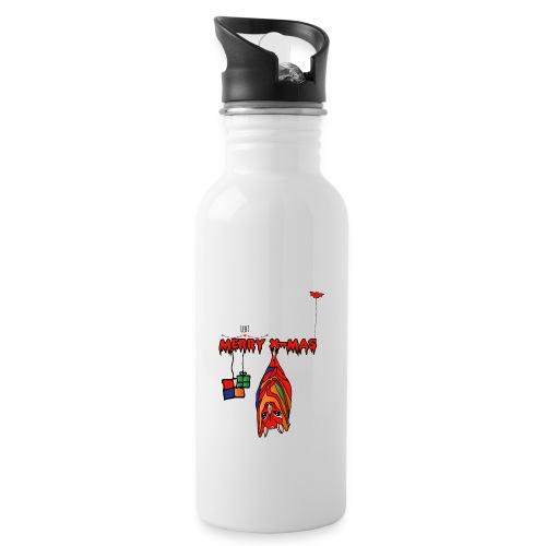 Merry X-MAS - Trinkflasche mit integriertem Trinkhalm