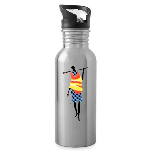 Color Stick Man - Drikkeflaske med integreret sugerør