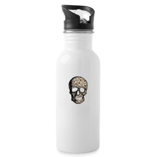 Skull Money Black - Botella cantimplora con pajita integrada