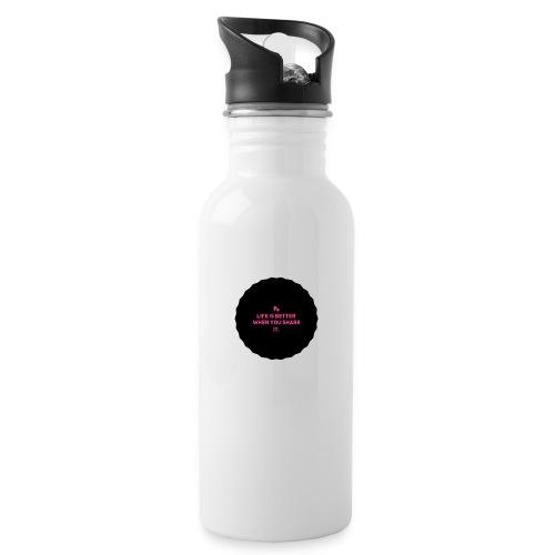 Life is better - Drikkeflaske med integrert sugerør