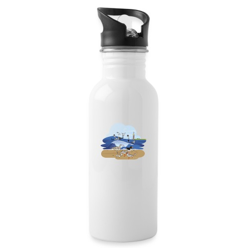 See... birds on the shore - Water bottle with straw