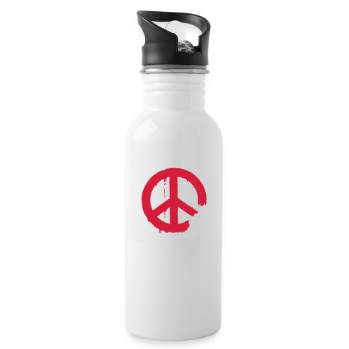 PEACE - Trinkflasche mit integriertem Trinkhalm