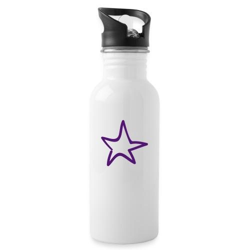 Star Outline Pixellamb - Trinkflasche mit integriertem Trinkhalm