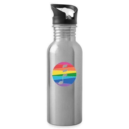 Rainbow Note - Trinkflasche mit integriertem Trinkhalm