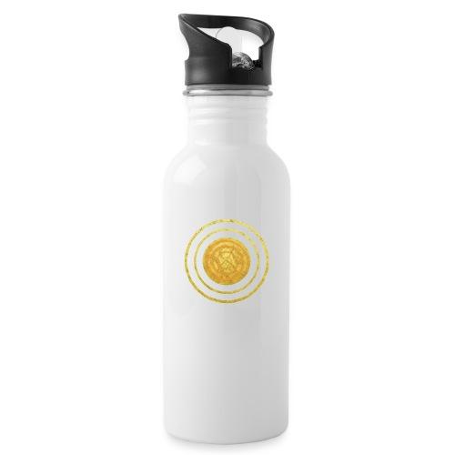 Glückssymbol Sonne - positive Schwingung - Spirale - Trinkflasche mit integriertem Trinkhalm