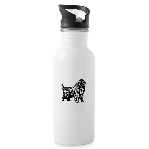 Neufundländer - Trinkflasche mit integriertem Trinkhalm