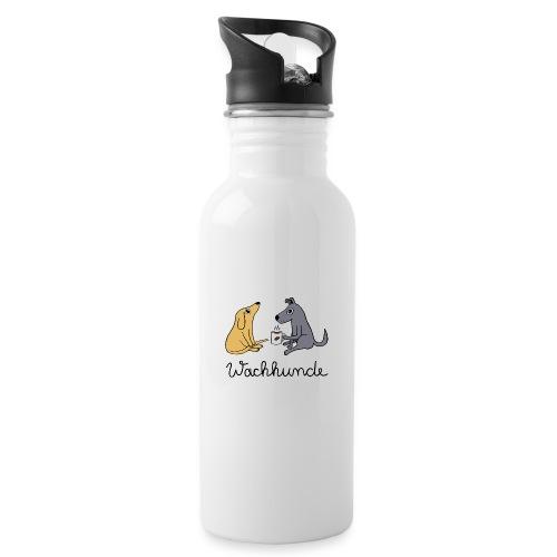 Wachhunde - Nur wach mit Kaffee - Trinkflasche mit integriertem Trinkhalm