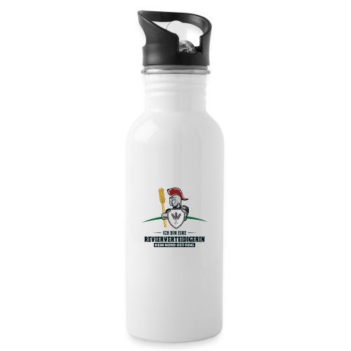 Revierverteidigerin rot - Trinkflasche mit integriertem Trinkhalm