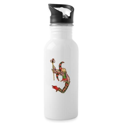 Bufón arlequín, carta de tarot el tonto - Botella cantimplora con pajita integrada