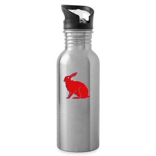 Roter Hase - Trinkflasche mit integriertem Trinkhalm